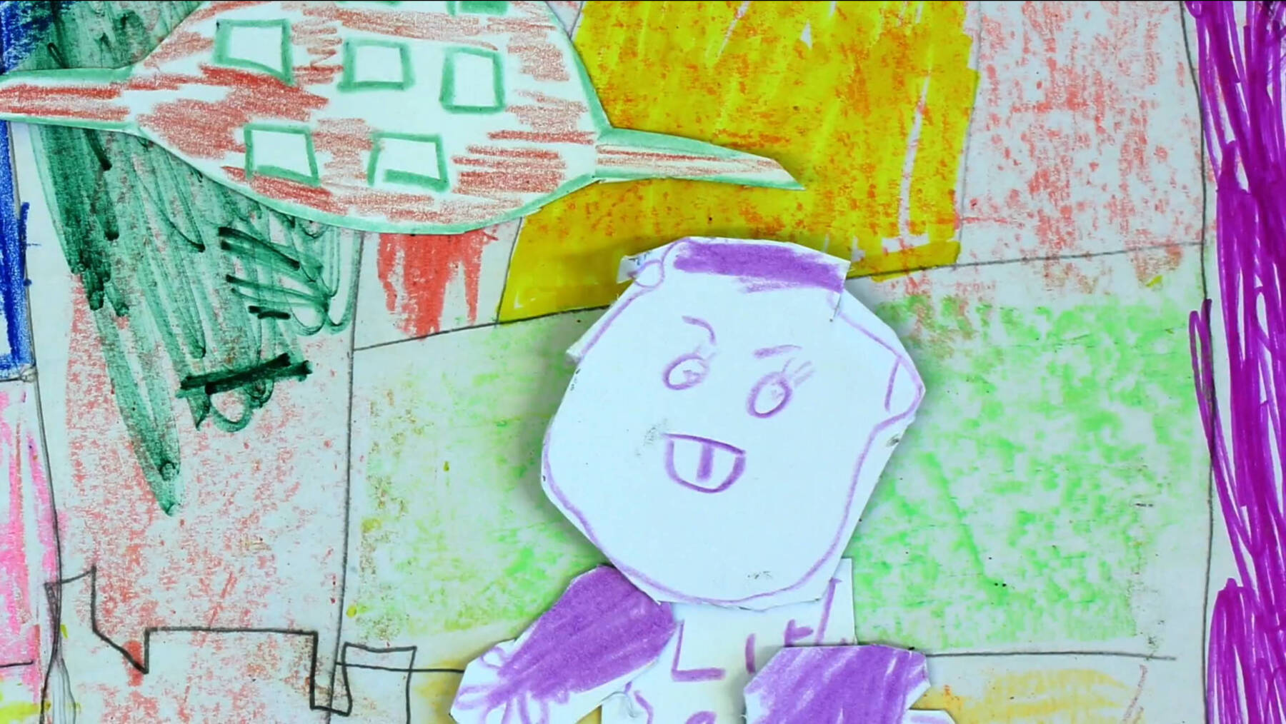 """Colourful children's drawings in a still from animation """"Margate is a Playground"""" from Open School East"""
