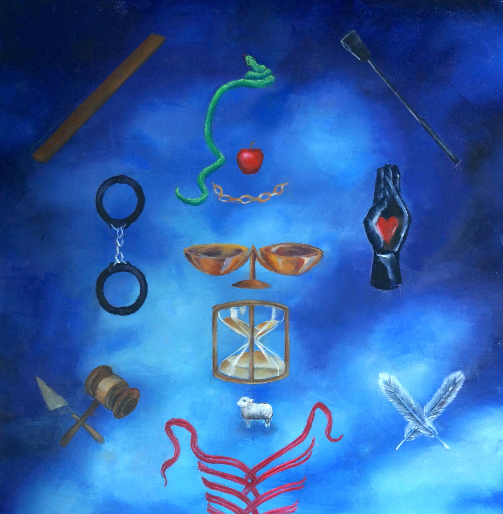 One of Sarah's paintings with various objects including a snake, apple, handcuffs, hourglass and feathers, all on a blue background.